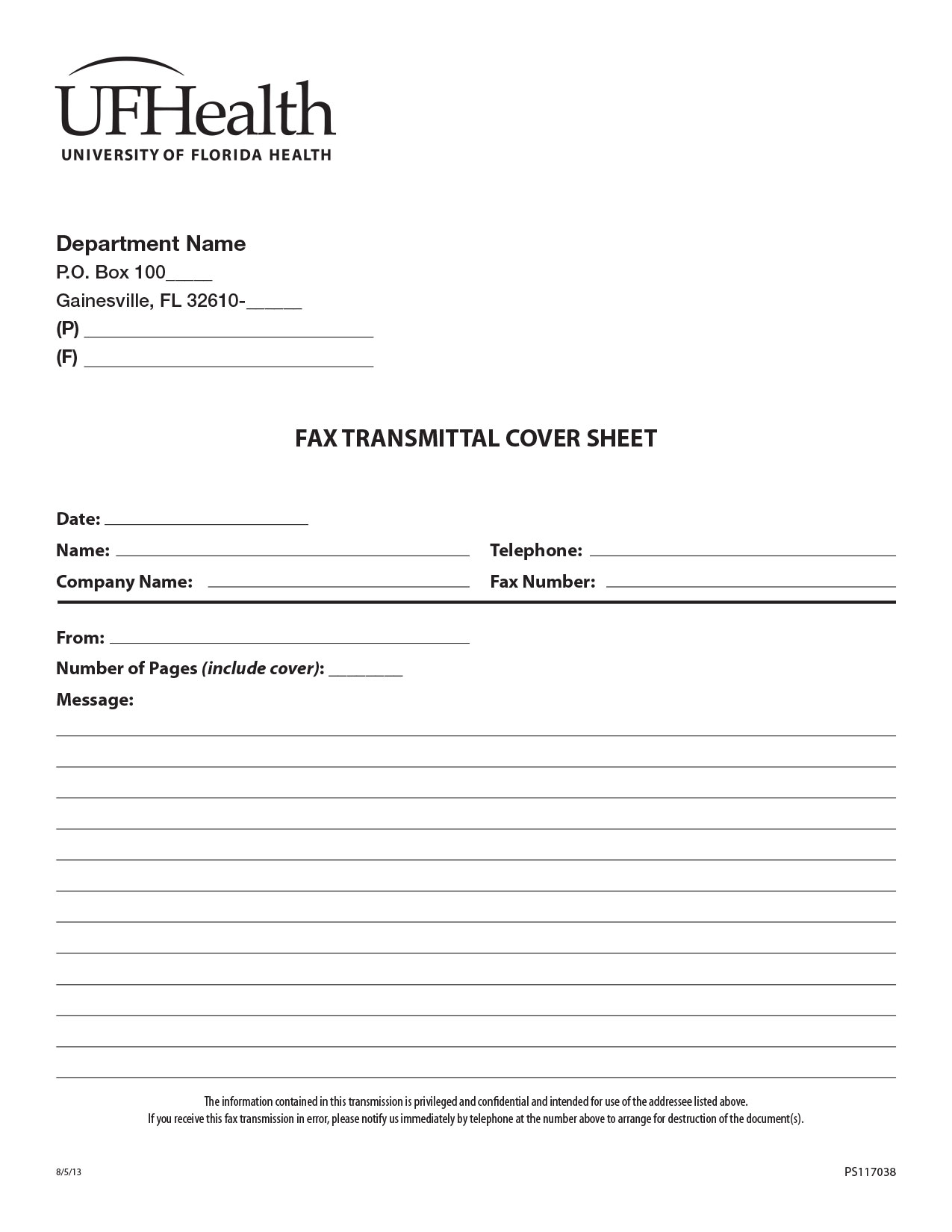 117038 Fax With Lines  Fax Form Template Free